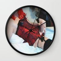 penis Wall Clocks featuring funny painting Transgender trannie BDSM fetish panty corset sex fuck penis cock dick woman man cute by Velveteen Rodent