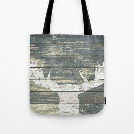 Rustic White Moose Silhouette A424a Tote Bag