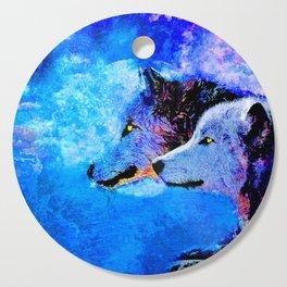 WOLF:  NIGHT COMPANION Cutting Board