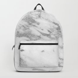 Marble - Silver and White Marble Pattern Backpack