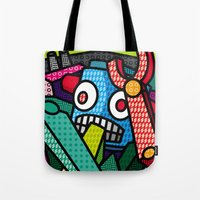 artsy Tote Bags featuring Artsy Bot by Brandon Ortwein