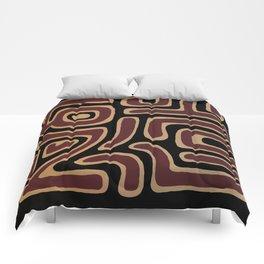 Tribal Maze II - Tan and Red Comforters