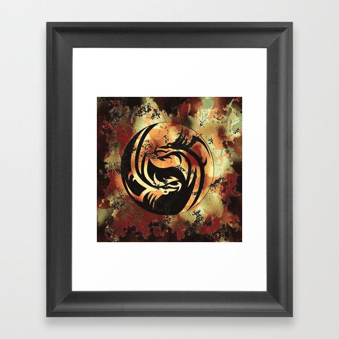 Yin and Yang Dragons Artwork Gerahmter Kunstdruck
