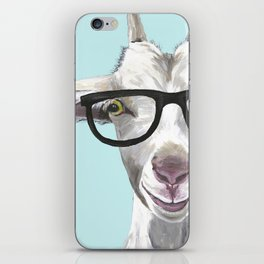 Goat with Glasses, Cute Farm Animal iPhone Skin