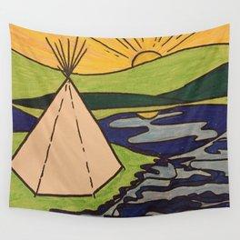 Teepee native sun Wall Tapestry