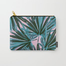 Tropical Palm Leaves in Botanical Green + Pink Carry-All Pouch
