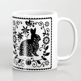 Woodland Folk Black And White Bunny Tile Coffee Mug