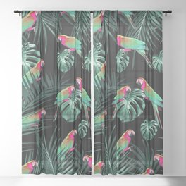 Parrots in the Tropical Jungle Night #1 #tropical #decor #art #society6 Sheer Curtain