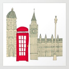 London red telephone box (cut out - red) Art Print