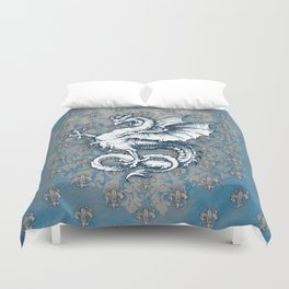 Noble House STEEL BLUE / Grungy heraldry design Duvet Cover