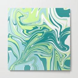 Marbling - green Metal Print
