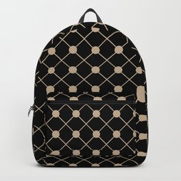 Pantone Hazelnut Thin Line Stripe Grid (Pinstripe) and Polka Dots on Black Backpack