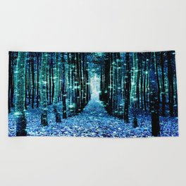 Magical Forest Teal Turquoise Beach Towel