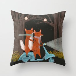 the fox mobile Throw Pillow