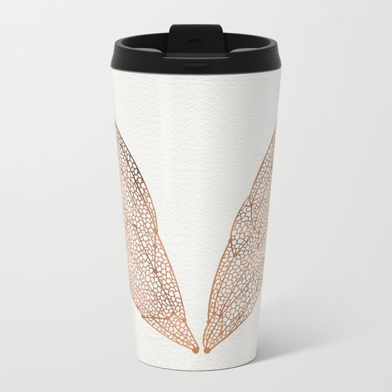 Cicada Wings in Rose Gold Metal Travel Mug