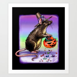 Trick or Treating Mouse Art Print