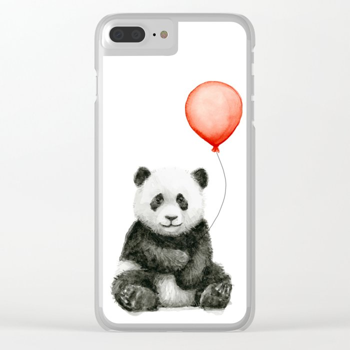 Panda and Red Balloon Baby Animals Watercolor Clear iPhone Case