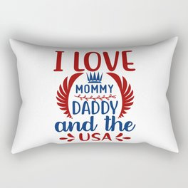 Baby Love Mommy Daddy USA Independence Day Rectangular Pillow
