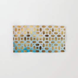Exotic Gold Moroccan Geometric Pattern on Blue Background Hand & Bath Towel