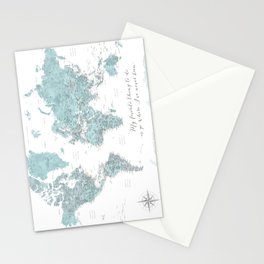 Where I've never been detailed world map in blue Stationery Cards