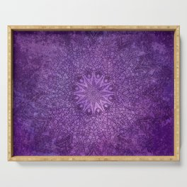 star mandala deep in the dark purple dream Serving Tray