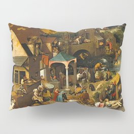 Pieter Bruegel the Elder Netherlandish Proverbs Painting Pillow Sham