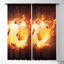 Fire Football Soccer Sport Blackout Curtain