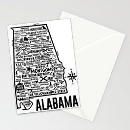 Alabama Map Stationery Cards
