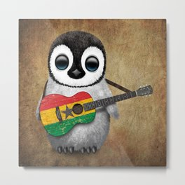 Baby Penguin Playing Ghana Flag Acoustic Guitar Metal Print