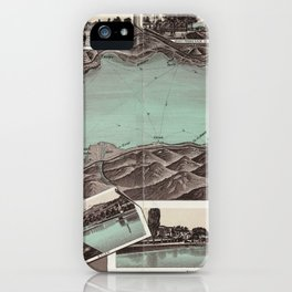Vintage Pictorial Map of Lake Geneva (1870) iPhone Case