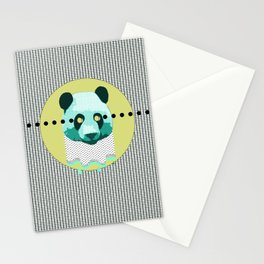 the blue panda who was melting black and white Stationery Cards