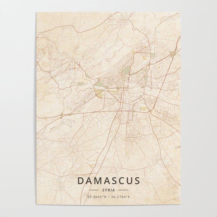 Damascus, Syria - Vintage Map Poster by designermapart | Society6