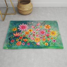 Wild flowers watercolor painting whimsical art Rug