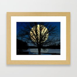 Modern Tree and Moon Over Midnight Blue Lake Art A479 Framed Art Print