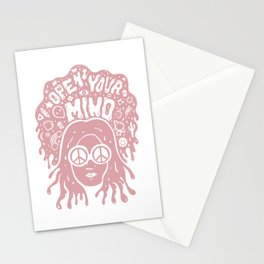 Open Your Mind in pink Stationery Cards