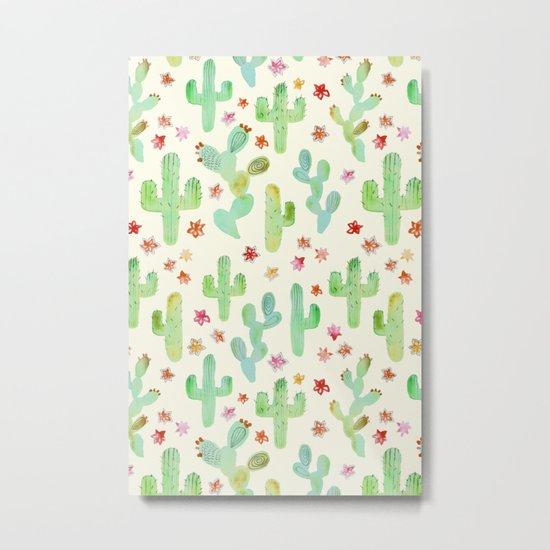 Watercolor Cacti Metal Print