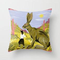 Riding Hare Throw Pillow
