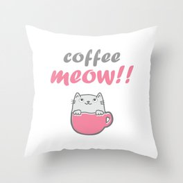 Womens Cute Coffee And Cat Lover design - Coffee Meow Throw Pillow