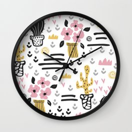 Cute flowers and cactus Wall Clock