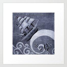 Whirlpool of ships Art Print