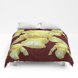PALE YELLOW IRIS ON BURGUNDY COLOR Comforters