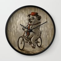 dogs Wall Clocks featuring Dogs by Ronan Lynam