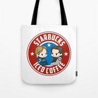 stucky Tote Bags featuring Starbucks - Steve Rogers and Bucky Barnes Iced Coffee  by BlacksSideshow