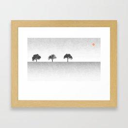 Tree Artwork Grey And Black Landscape Framed Art Print