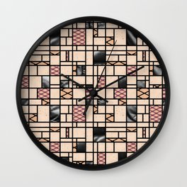 Modern Art Fishnets Skin and Leather Grid Pattern Wall Clock