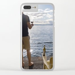 Sea View with Wine Clear iPhone Case
