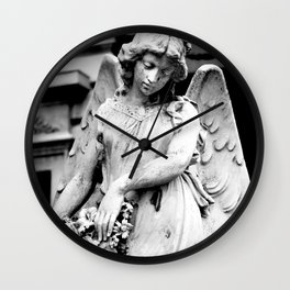 Angel Statue Looking Down in Argentina Wall Clock