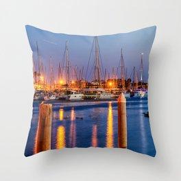 Marina Del Rey Harbor At Night Throw Pillow