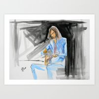 neil young Art Prints featuring Neil Young On Guitar by Mark T. Zeilman