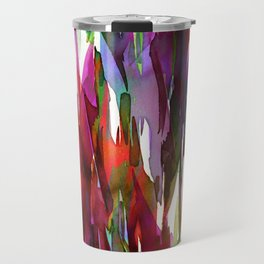 FERVOR 3 Colorful Bold Abstract Autumn Fall Crimson Red Purple Mauve Green Watercolor Painting Art Travel Mug